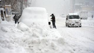 Muş'ta kar yağışı nedeniyle kent merkezi beyaza büründü