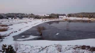Bilecik'teki Pelitözü Göleti'nin su seviyesi kar yağışıyla yükseldi