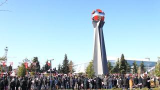 """""""Samsunspor'un kara günü"""" anıtı açıldı"""