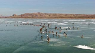 Burdur'daki Karataş Gölü dondu