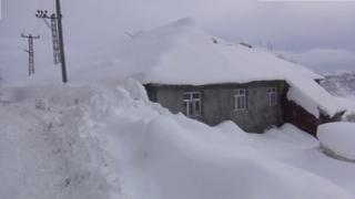 Muş'ta tek katlı evler kar altında kaldı