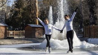 Kuğulu Park'ta buz pateni