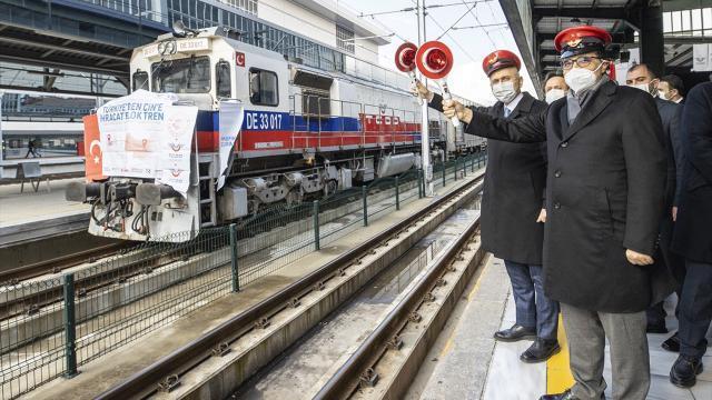 Çine bor taşıyan tren yola çıktı