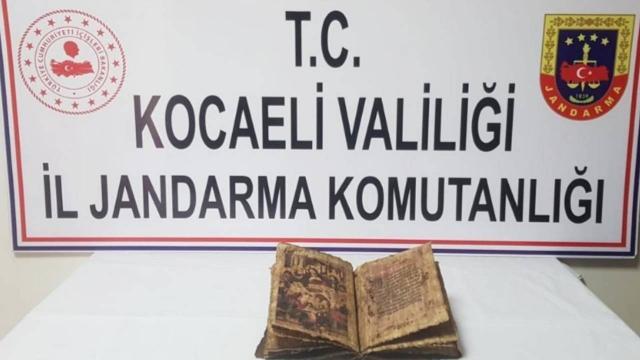Kocaelide deri üzerine yazılmış İncil ele geçirildi