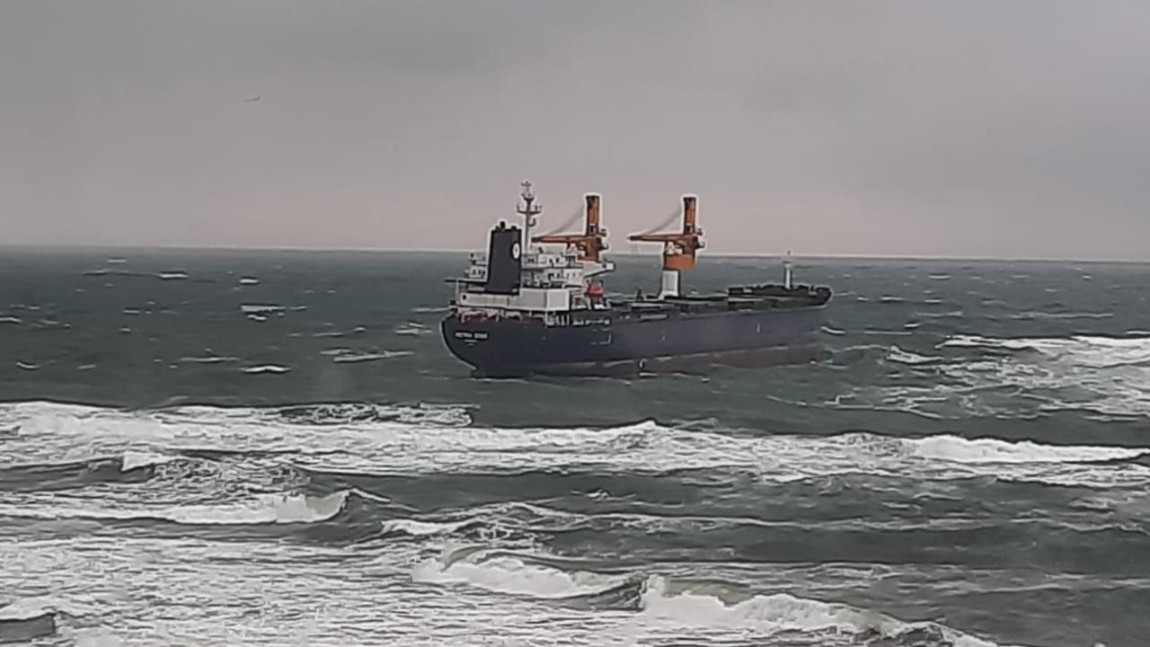 Kargo gemisi karaya sürüklendi