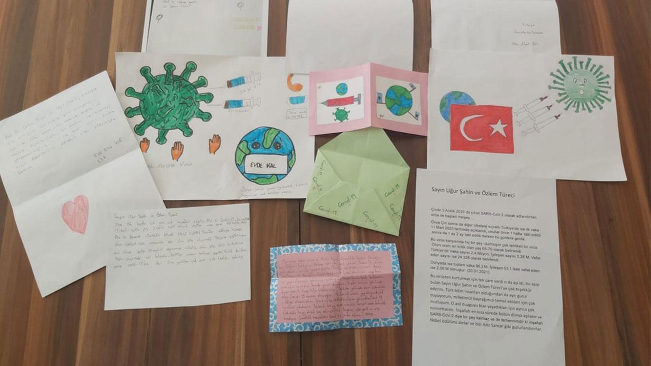 Öğrencilerden aşıyla insanlığa umut olan çifte mektup