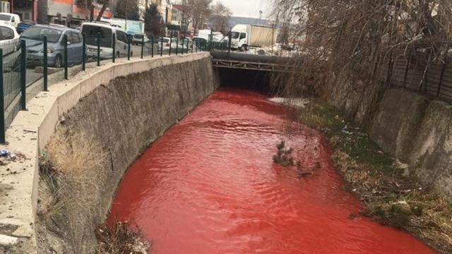 Ankara Çayında korkutan görüntü: Kırmızıya boyandı