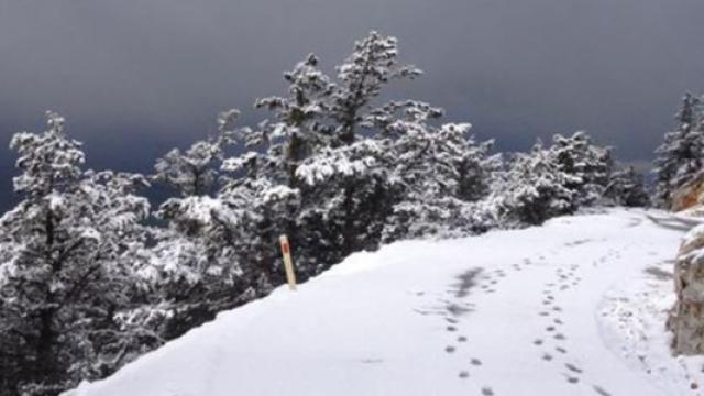 KKTCde Beşparmak Dağlarının yüksek kesimlerinde kar yağışı görüldü