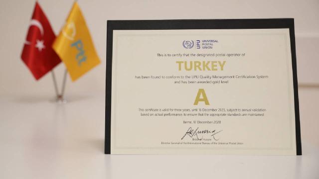 """PTT, Dünya Posta Birliğinden """"A seviye"""" kalite belgesi aldı"""