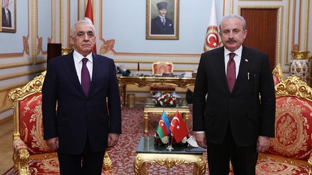 TBMM Başkanı Şentop, Azerbaycan Başbakanı Esedovu ağırladı