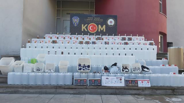 Adanada sahte içki imalathanelerine operasyon düzenlendi 1323 litre etil alkol ele geçirildi