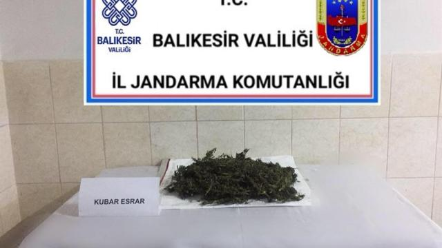Burhaniyede jandarma ekiplerince 1 kilo 275 gram esrar ele geçirildi