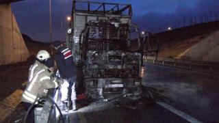 Plastik yüklü kamyon alev alev yandı