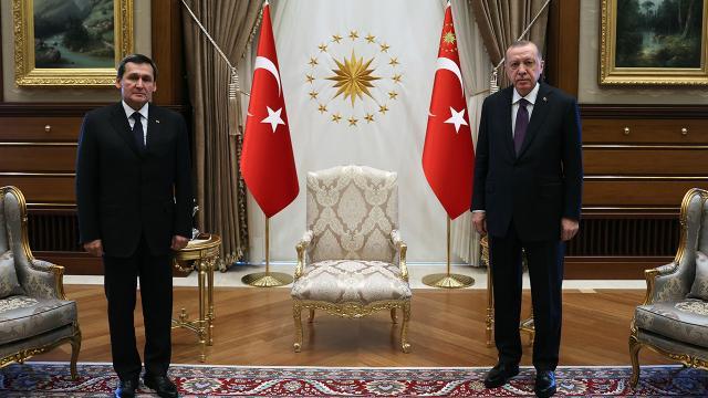 Cumhurbaşkanı Erdoğan Türkmenistan Dışişleri Bakanı Meredowu kabul etti