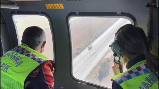 Helikopterli trafik denetiminde 36 sürücüye ceza