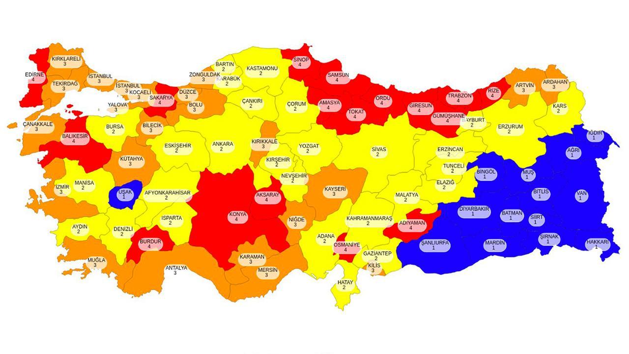 Hangi iller yüksek riskli? Türkiye geneli illere göre risk durumu haritası...  - Son Dakika Haberleri