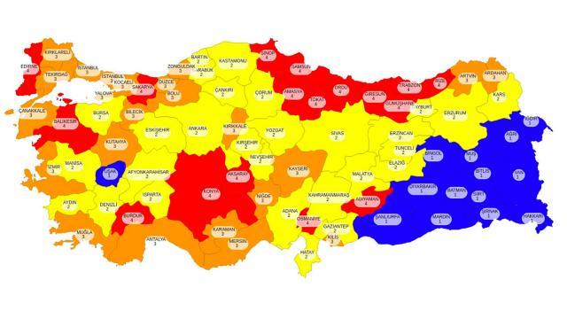 Türkiye geneli illere göre koronavirüs risk durumu haritası... İl il risk durumu...