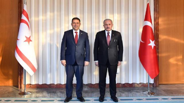 TBMM Başkanı Şentop ile KKTC Başbakanı Saner Mecliste görüştü