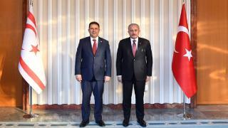 TBMM Başkanı Şentop ile KKTC Başbakanı Saner Meclis'te görüştü