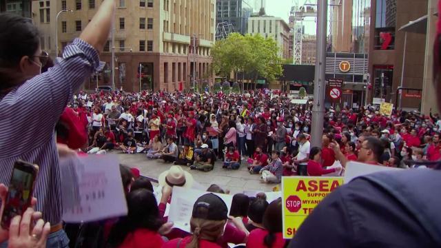 Avustralya'da Myanmar protestosu