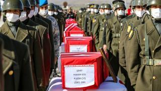 Şehit olan 11 asker için Elazığ'da uğurlama töreni düzenlendi
