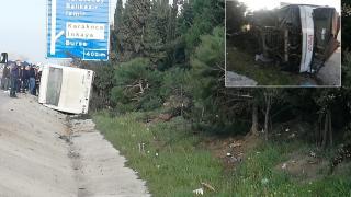 Bursa'da işçi servisi devrildi: 18 yaralı