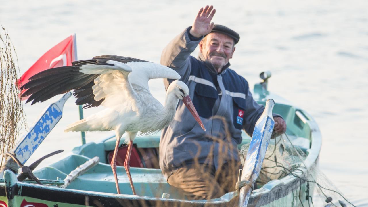 Bursalı balıkçı ile Leylek Yaren bu sene de bir arada