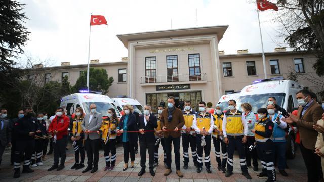 Kırklareline gönderilen ambulanslar törenle teslim alındı