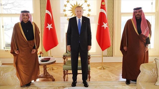 Cumhurbaşkanı Erdoğan, Katar Dışişleri Bakanı Al Saniyi kabul etti
