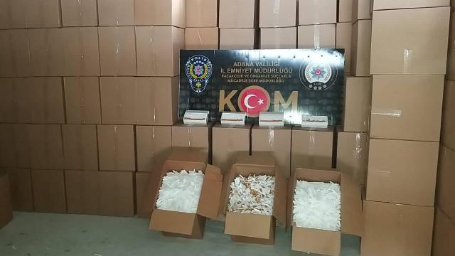 Adanada 10 milyon kaçak makaron ele geçirildi