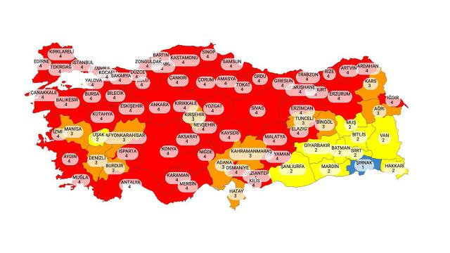 Hangi iller kırmızı? 58 il kırmızı oldu... İl il koronavirüs risk durumu haritası...