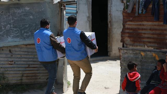 Türkiye Diyanet Vakfının desteğiyle Gazzede ihtiyaç sahibi ailelere gıda yardımı yapıldı
