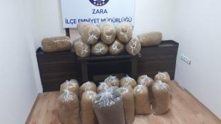 Sivas'ta 135 kilo kaçak tütün ele geçirildi