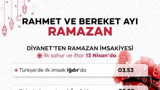 İlk imsak Iğdır'da ilk iftar ise Hakkari'de yapılacak