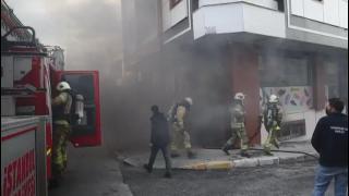 İstanbul'da bir ayakkabı imalathanesinde yangın çıktı