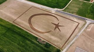 Tarlasına traktörüyle Türk bayrağı çizdi