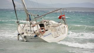 Didim'de fırtına denizcilere zor anlar yaşattı
