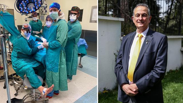 Ameliyat sırasında fenalaştı, operasyonu serumla tamamladı