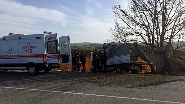 Kırıkkalede kamyonet ağaca çarptı: 1 ölü, 2 yaralı