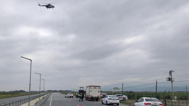 Manisada helikopterli trafik denetimi
