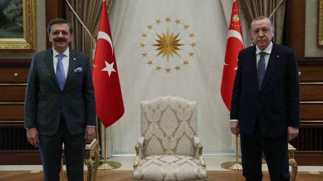 Cumhurbaşkanı Erdoğan, TOBB Başkanı Hisarcıklıoğlunu kabul etti