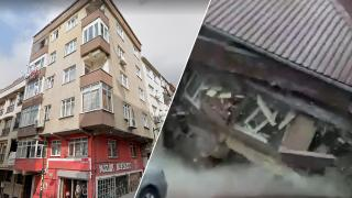 Zeytinburnu'nda 5 katlı binanın çökme anı kamerada