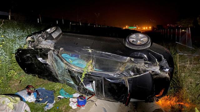 Kuzey Marmara Otoyolunda bir araç şarampole devrildi: 6 yaralı