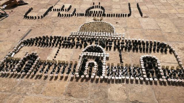 İsrail polisinin sıktığı plastik mermilerle Kubbetus Sahra sureti yapıldı