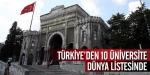 Türkiyeden 10 Üniversite Dünya Listesinde