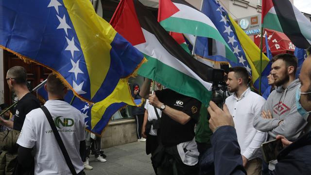 Saraybosnada Filistine destek yürüyüşü