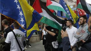 Saraybosna'da Filistin'e destek yürüyüşü