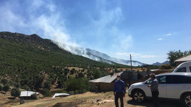 Elazığda çıkan orman yangınına müdahale ediliyor