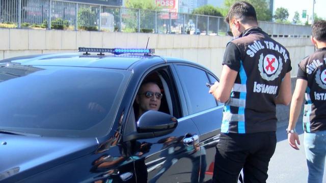 İstanbulda çakarlı araç denetimi