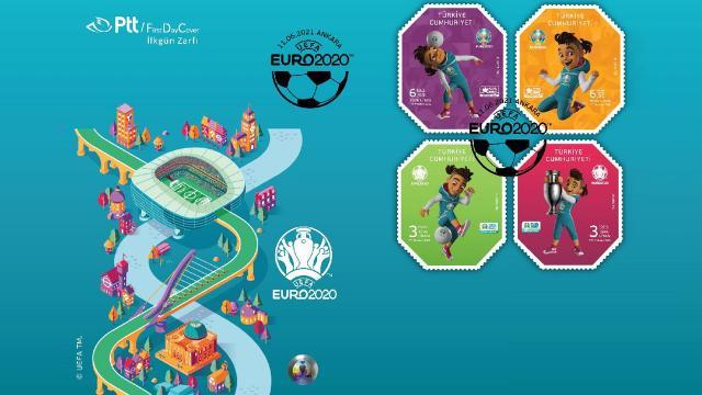 EURO 2020 konulu anma pulu ve ilk gün zarfı tedavülde